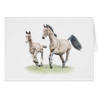 Cavalo do cartão de aniversário da égua & do potro