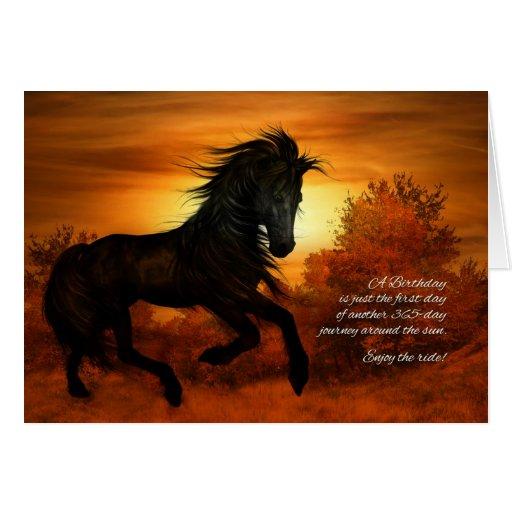 Cavalo Do Feliz Aniversario No Por Do Sol Cart 227 O
