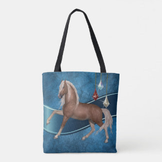 Cavalo do Palomino no bolsa azul Bage