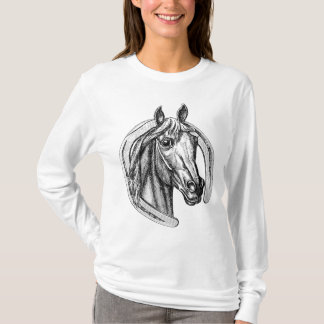 Cavalo do vintage e camiseta da ferradura