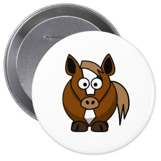 Cavalo dos desenhos animados bóton redondo 10.16cm