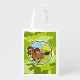 Cavalo dos desenhos animados camo verde-claro sacola reusável