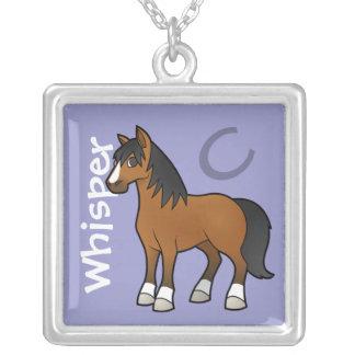 Cavalo dos desenhos animados colar com pendente quadrado