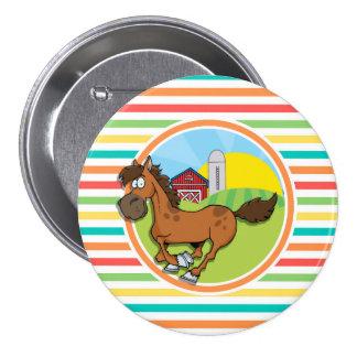 Cavalo dos desenhos animados Listras brilhantes Botons