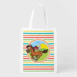 Cavalo dos desenhos animados Listras brilhantes Sacola Ecológica Para Supermercado