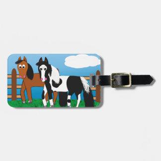 Cavalo dos desenhos animados tags de mala