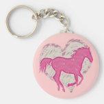 Cavalo e coração cor-de-rosa chaveiro
