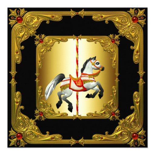 Cavalo elegante do carrossel do preto e do ouro convites