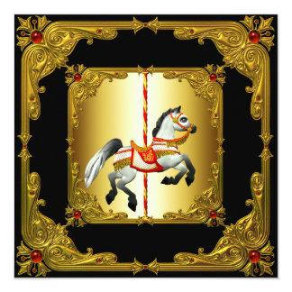 Cavalo elegante do carrossel do preto e do ouro convite quadrado 13.35 x 13.35cm