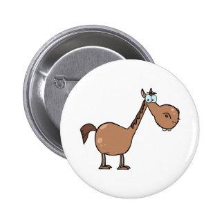 Cavalo engraçado bóton redondo 5.08cm