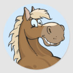 Cavalo feliz de Brown Adesivo Redondo