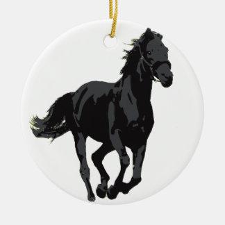 Cavalo - garanhão preto ornamento de cerâmica redondo