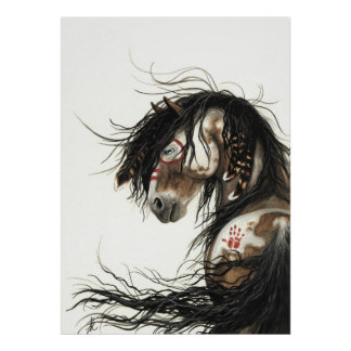 Cavalo majestoso do Pinto do mustang pelo poster d