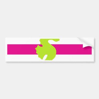 Cavalo marinho branco e verde do rosa quente adesivo