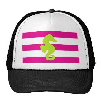 Cavalo marinho branco e verde do rosa quente boné