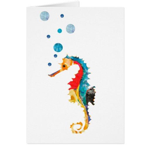 Cavalo marinho colorido cartoes