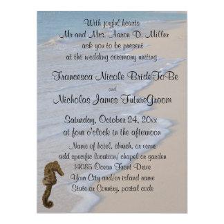 Cavalo marinho do casamento de praia convite 16.51 x 22.22cm