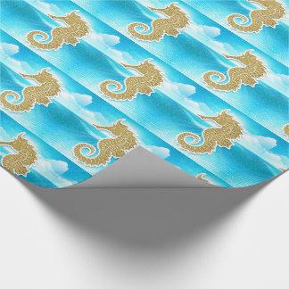 Cavalo marinho dourado com azul de oceano papel de presente