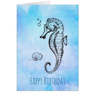 Cavalo marinho e Seashell no aniversário azul da Cartão Comemorativo