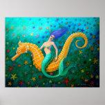 Cavalo marinho mágico do passeio da sereia poster