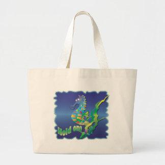 Cavalo marinho-no azul bolsa de lona