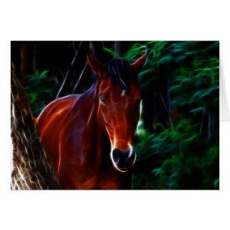 Cavalo na floresta cartão comemorativo