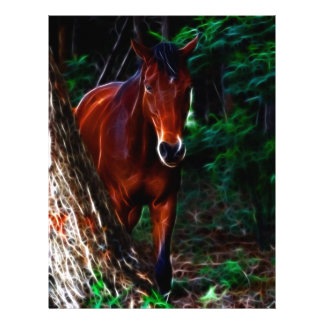 Cavalo na floresta papel de carta