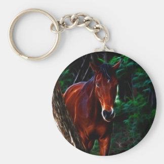 Cavalo na floresta chaveiro