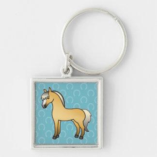 Cavalo norueguês do fiorde dos desenhos animados chaveiro quadrado na cor prata