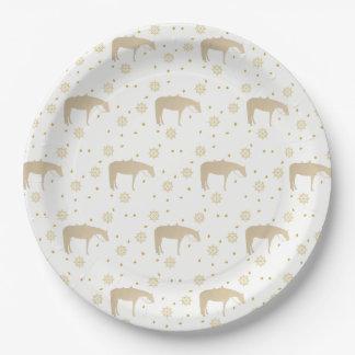 Cavalo ocidental branco do ouro do pergaminho do