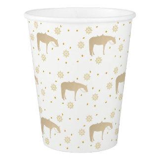 Cavalo ocidental branco do ouro do pergaminho do copo de papel