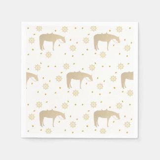 Cavalo ocidental branco do ouro do pergaminho do guardanapo de papel