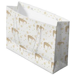 Cavalo ocidental branco do ouro do pergaminho do sacola para presentes grande