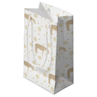Cavalo ocidental branco do ouro do pergaminho do sacola para presentes pequena
