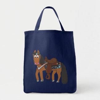 Cavalo ocidental dos desenhos animados bonitos bolsa para compras
