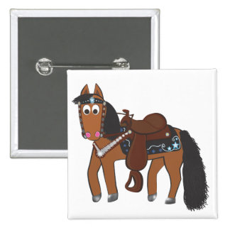 Cavalo ocidental dos desenhos animados bonitos boton