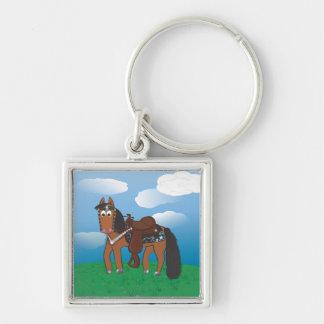 Cavalo ocidental dos desenhos animados bonitos chaveiro quadrado na cor prata