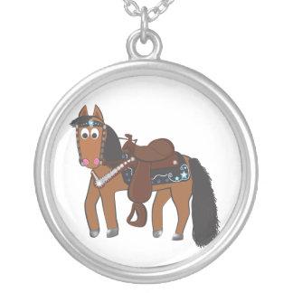 Cavalo ocidental dos desenhos animados bonitos colar com pendente redondo