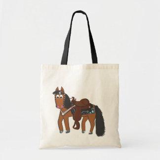 Cavalo ocidental dos desenhos animados bonitos sacola tote budget