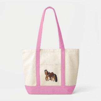 Cavalo ocidental dos desenhos animados bonitos sacola tote impulse