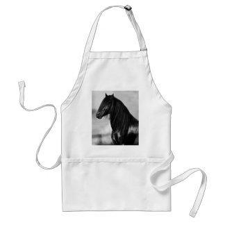 Cavalo orgulhoso do garanhão do preto do frisão avental