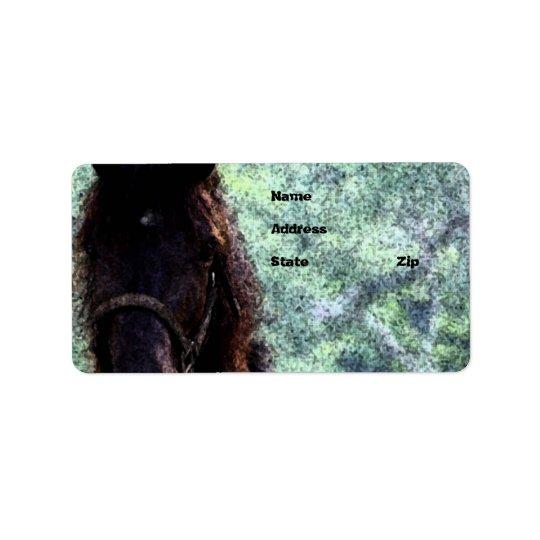 Cavalo pintado etiqueta de endereço
