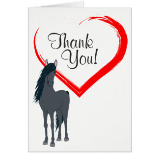 Cavalo preto bonito e obrigado vermelho do coração cartão de nota