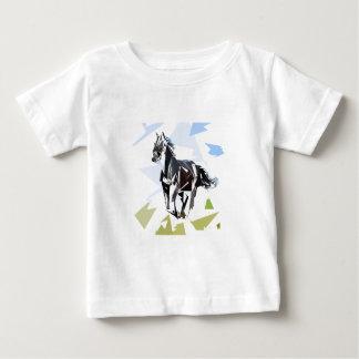 Cavalo preto camiseta para bebê