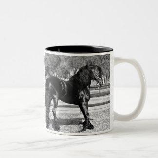 Cavalo preto do garanhão canecas