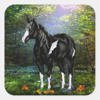 Cavalo preto e branco da pintura de Overo Adesivo Quadrado