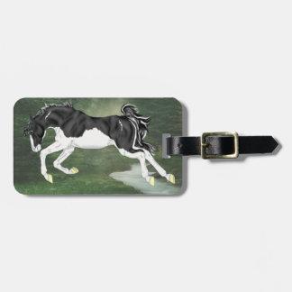 Cavalo preto e branco da pintura de Overo do Etiqueta De Bagagem