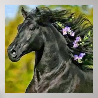 cavalo preto juba florescida, Papel afixar (mate) Poster
