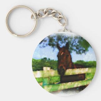 Cavalo sobre a cerca chaveiro