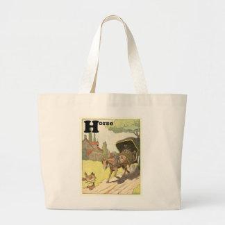 Cavalo trotando e carrinho bolsa para compras